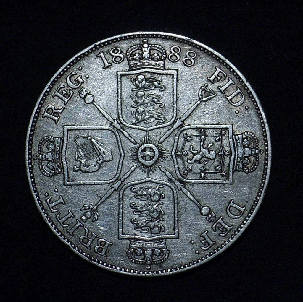 "UK 1888 Double Florin rev Arabic ""1"" in date"
