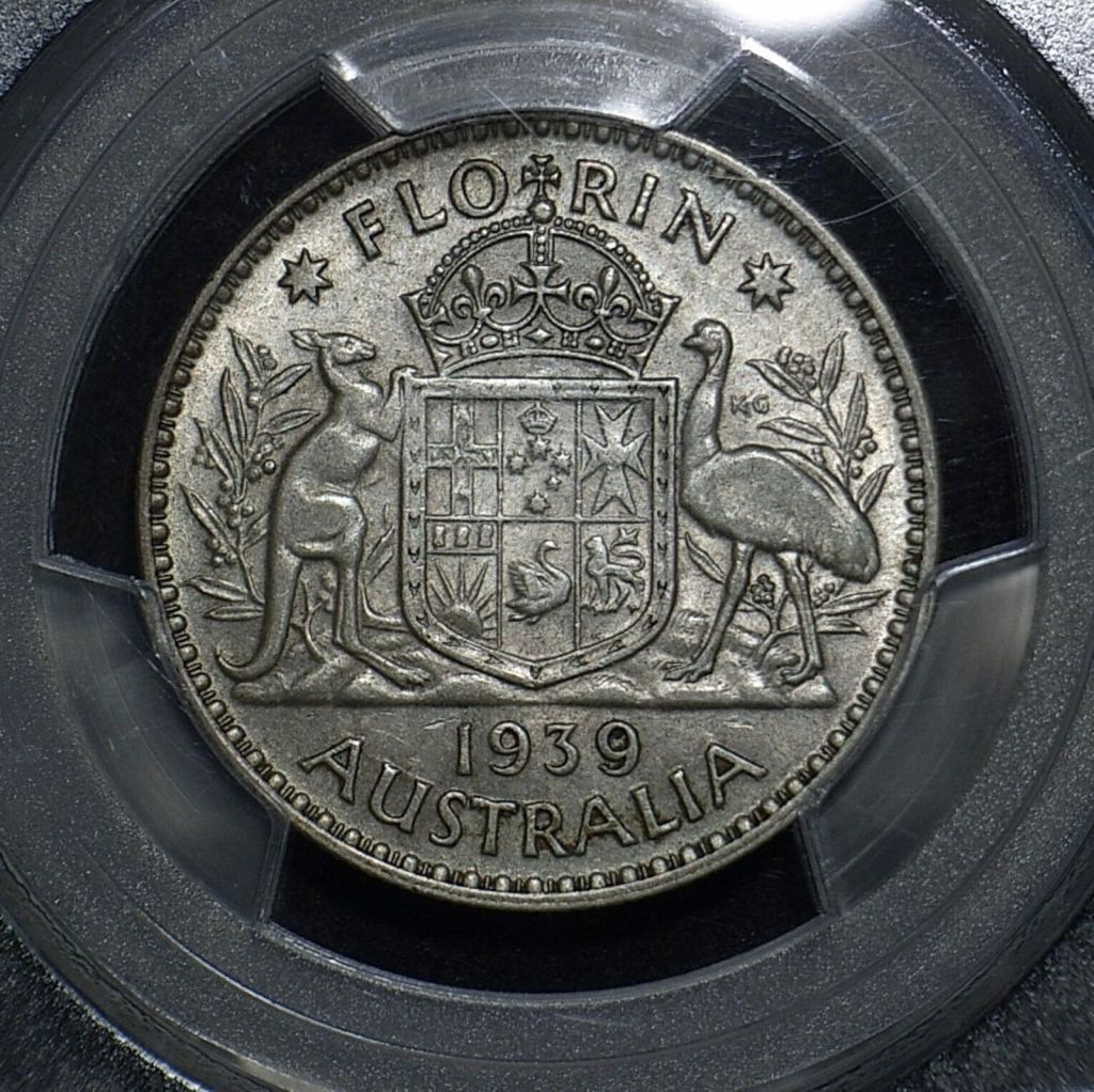 1939 Florin reverse in aEF AU 53