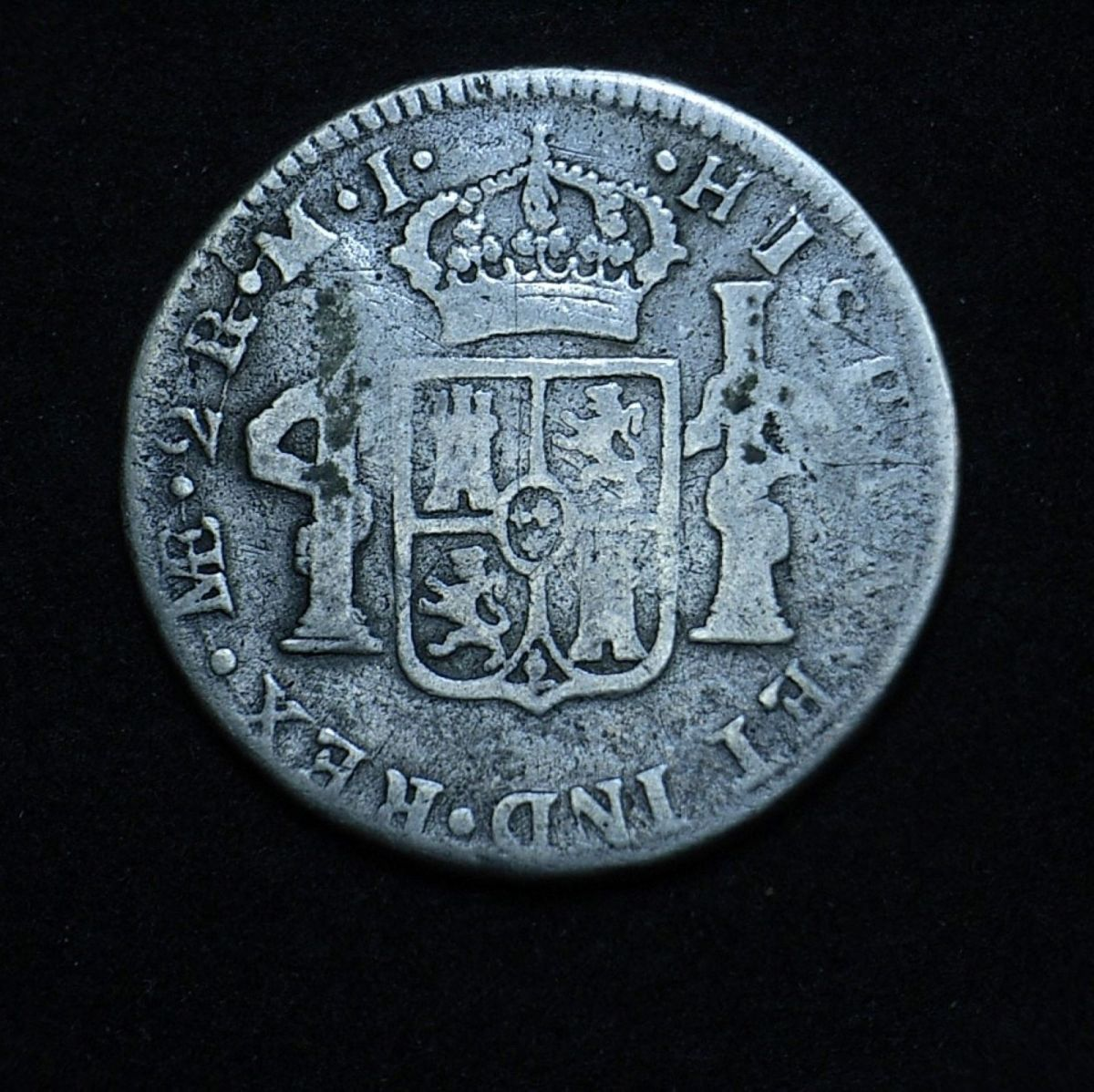 1784 colonial Spanish (Lima) 2 reales reverse