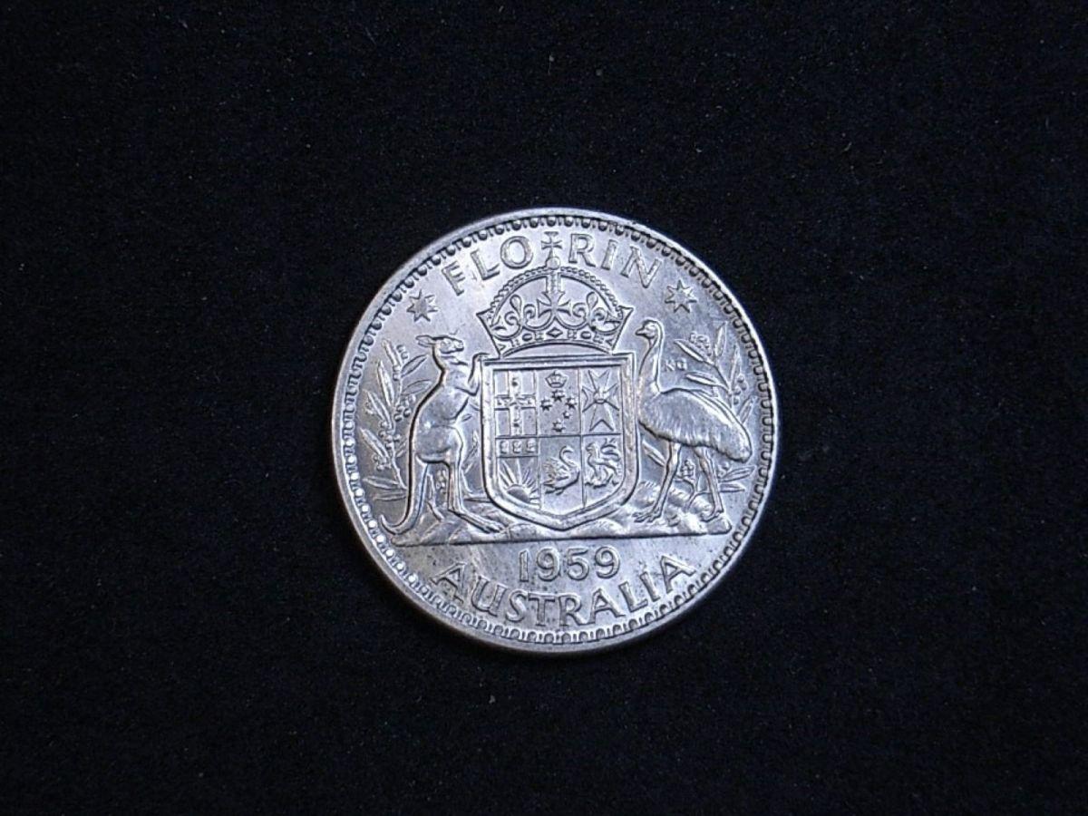 Aussie florin 1959 reverse showing coin's lustre