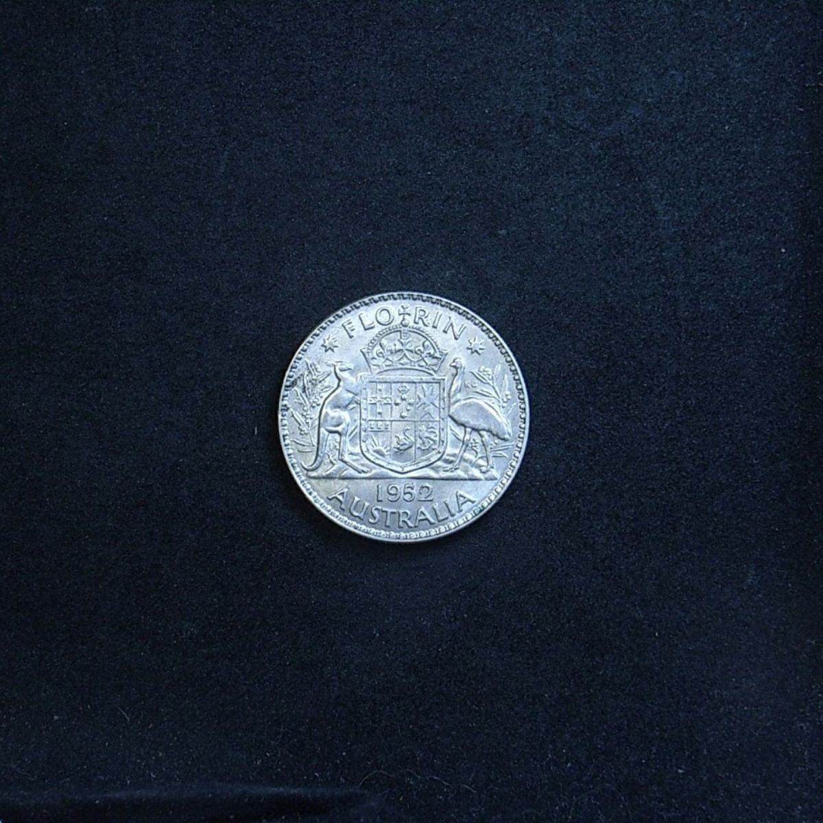 Aussie 1952 florin reverse showing the coin's lustre