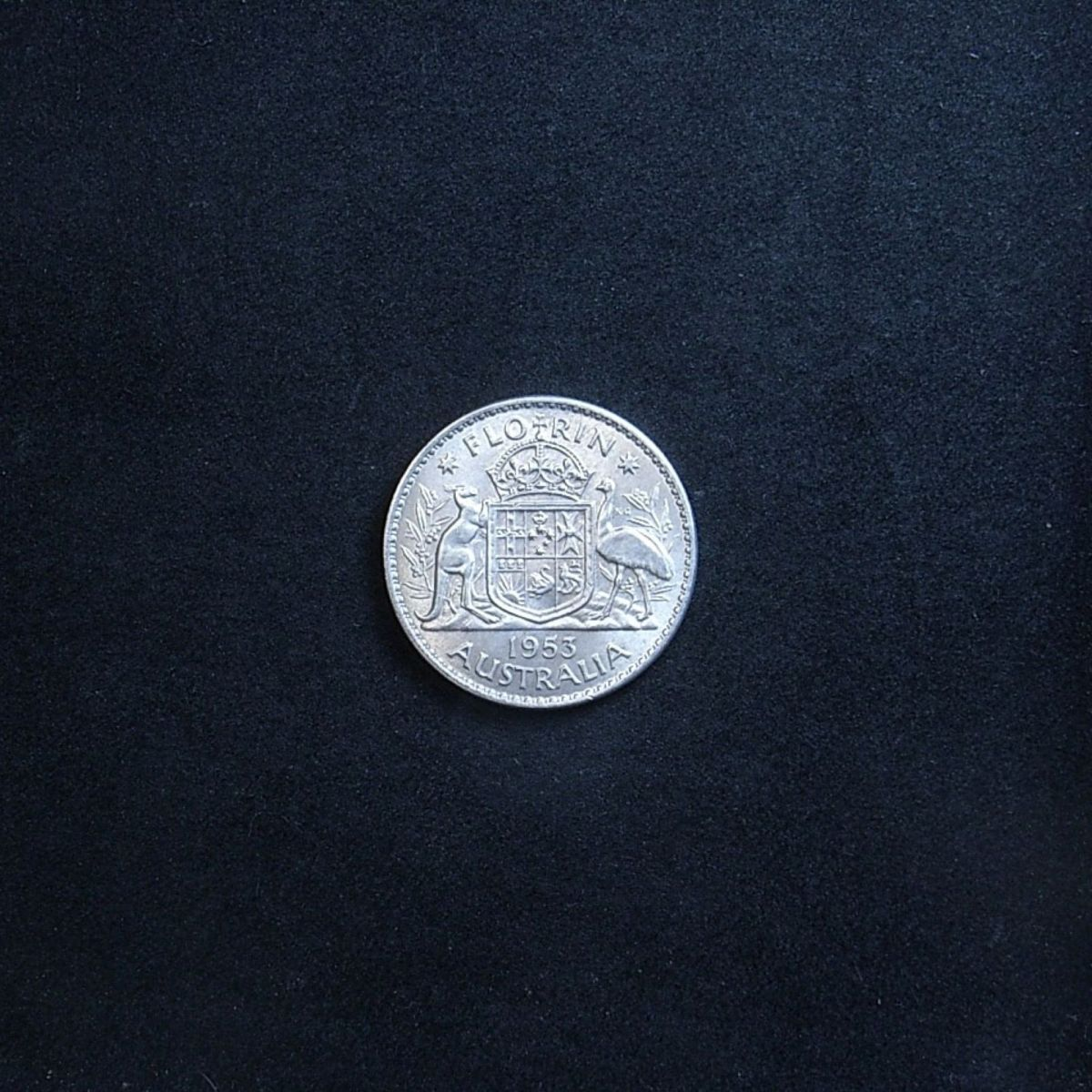 Aussie 1953 Florin reverse showing the coin's lustre