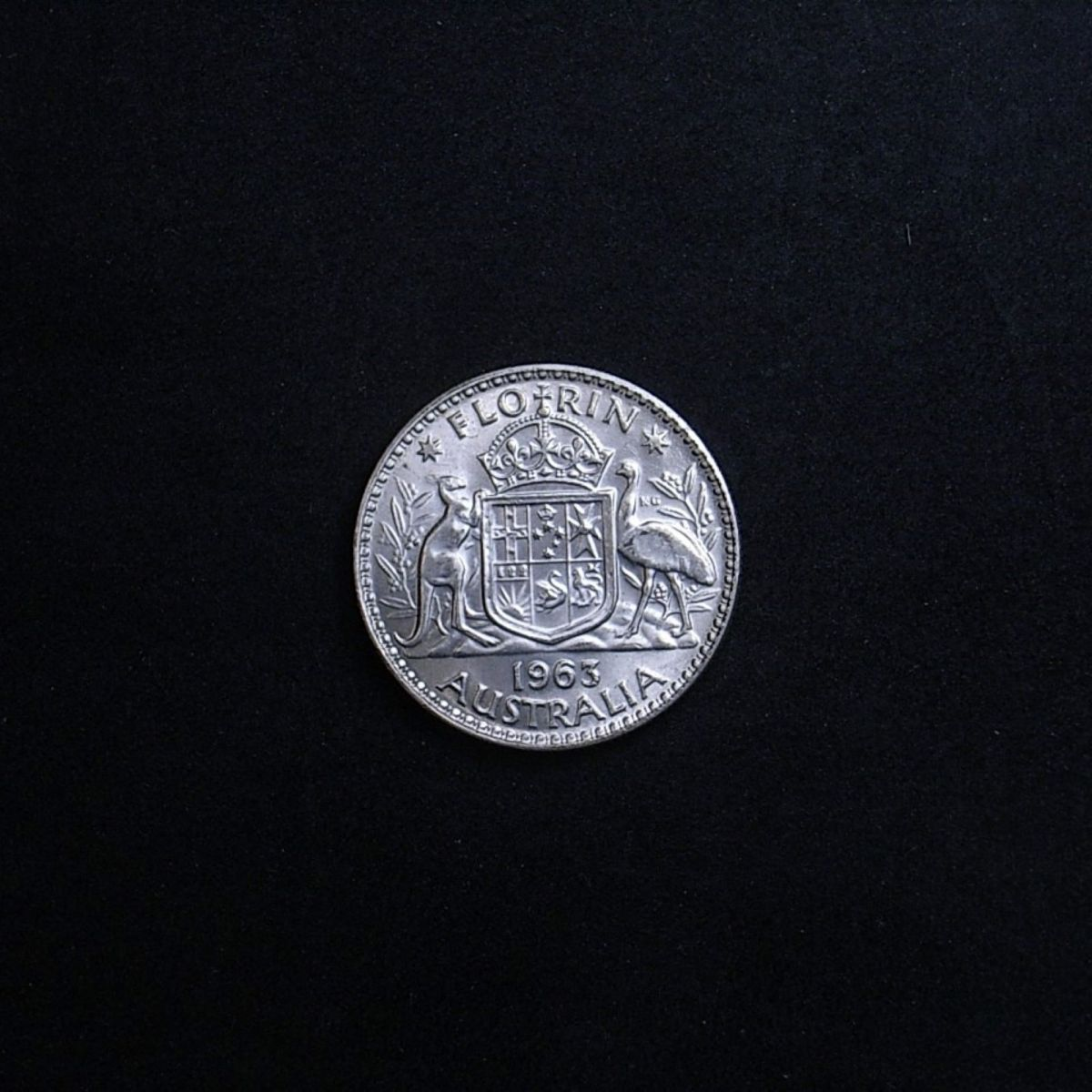 Aussie florin 1963 reverse highlighting the coin's lustre