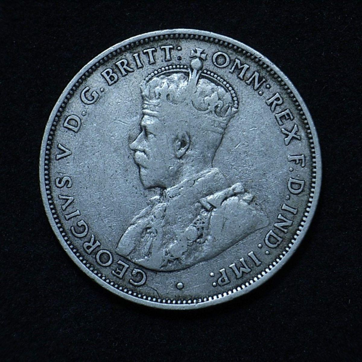 Aussie florin 1922 obverse close up