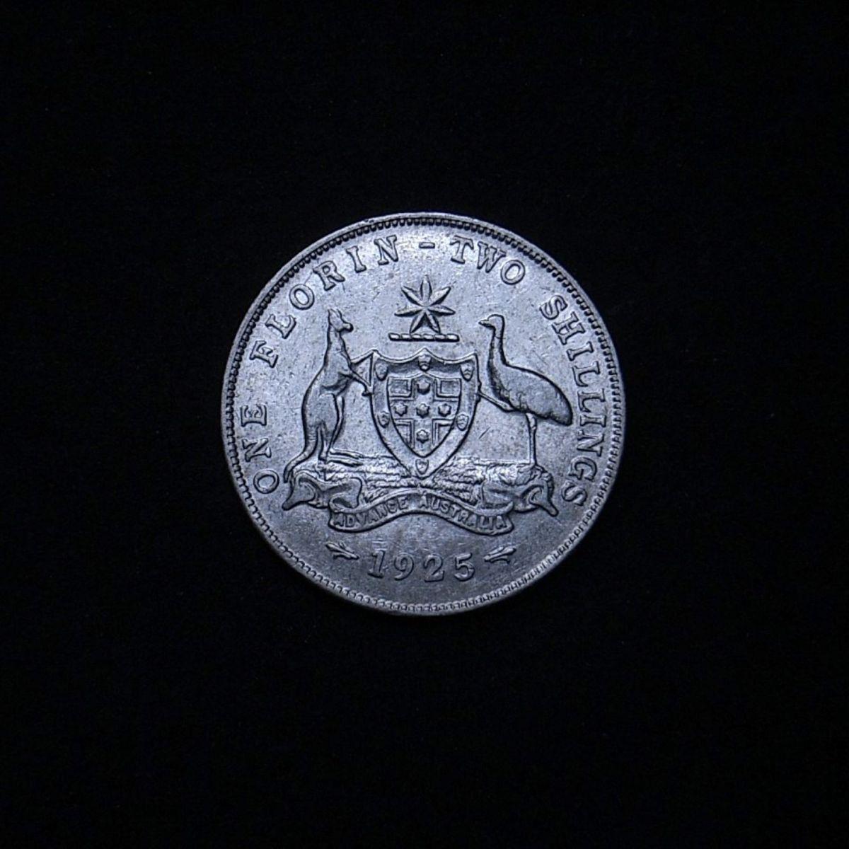 Aussie 1925 florin reverse showing lustre