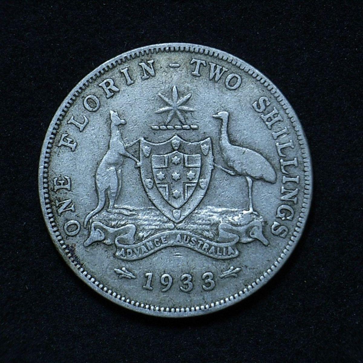 Aussie 1933 florin reverse close up