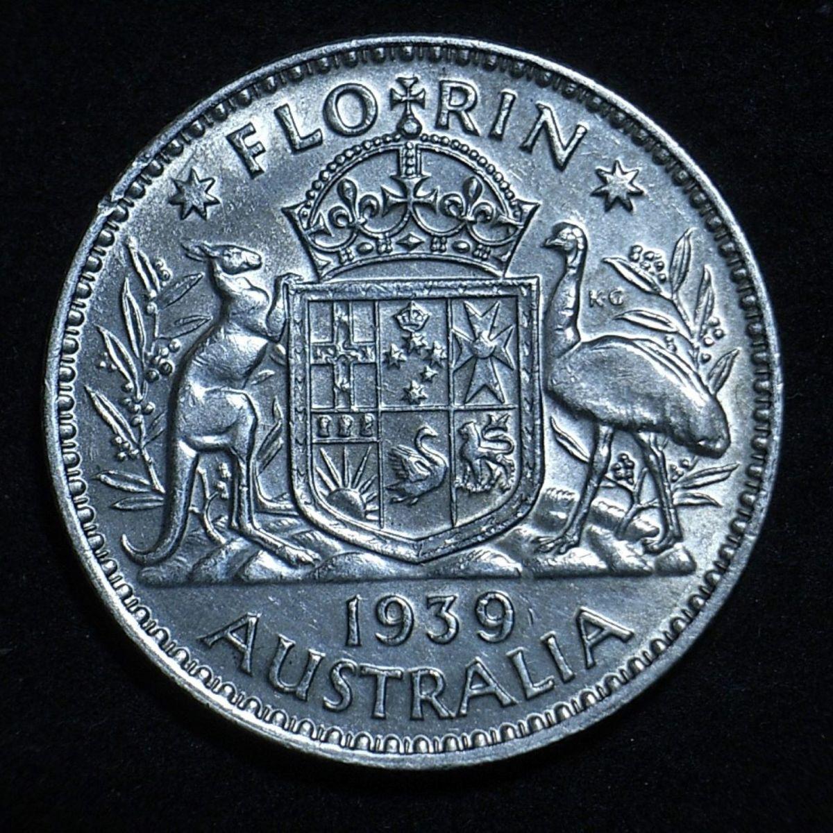 Aussie 1939 florin reverse close up, new light angle