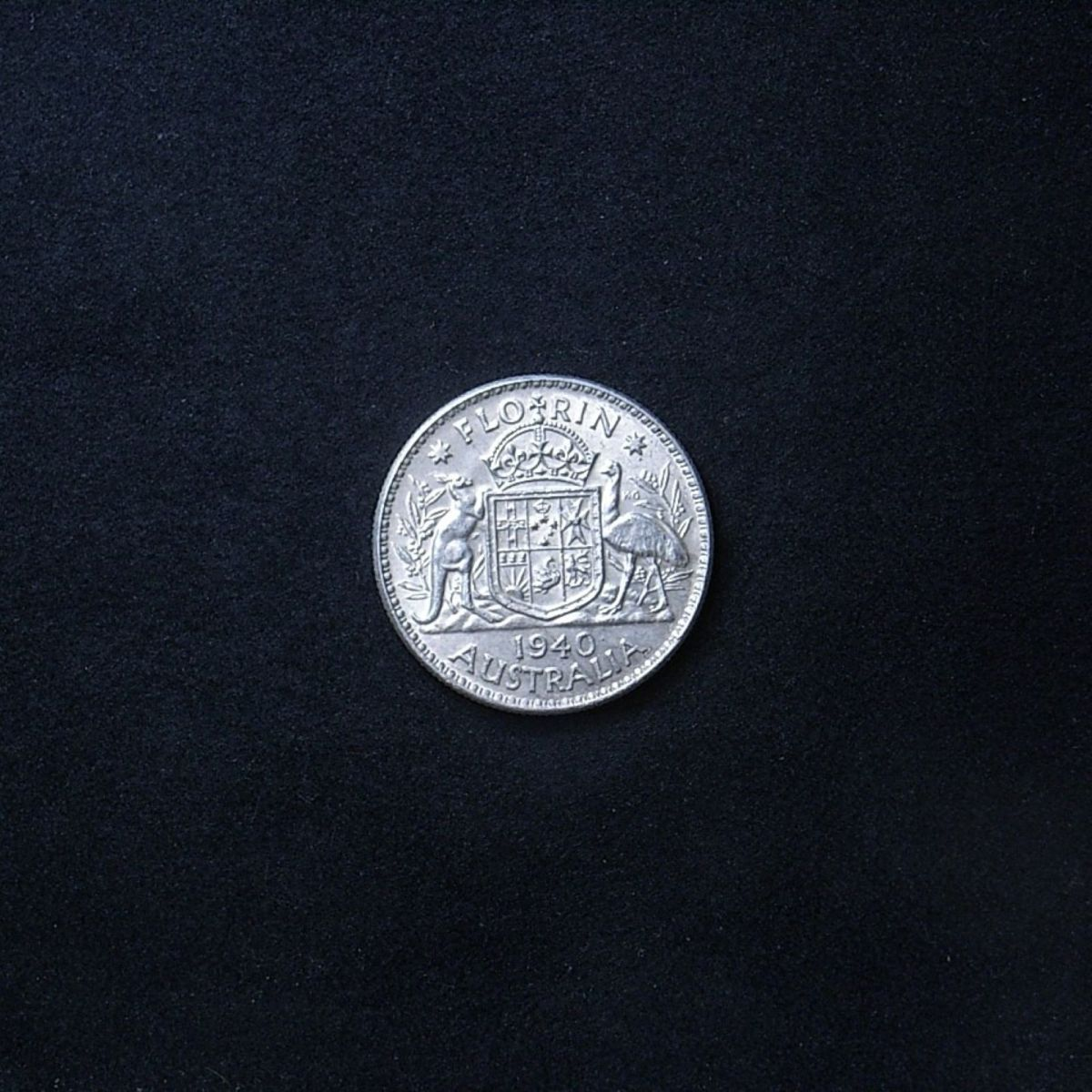 Aussie 1940 florin reverse, different light angle highlighting the coin's lustre