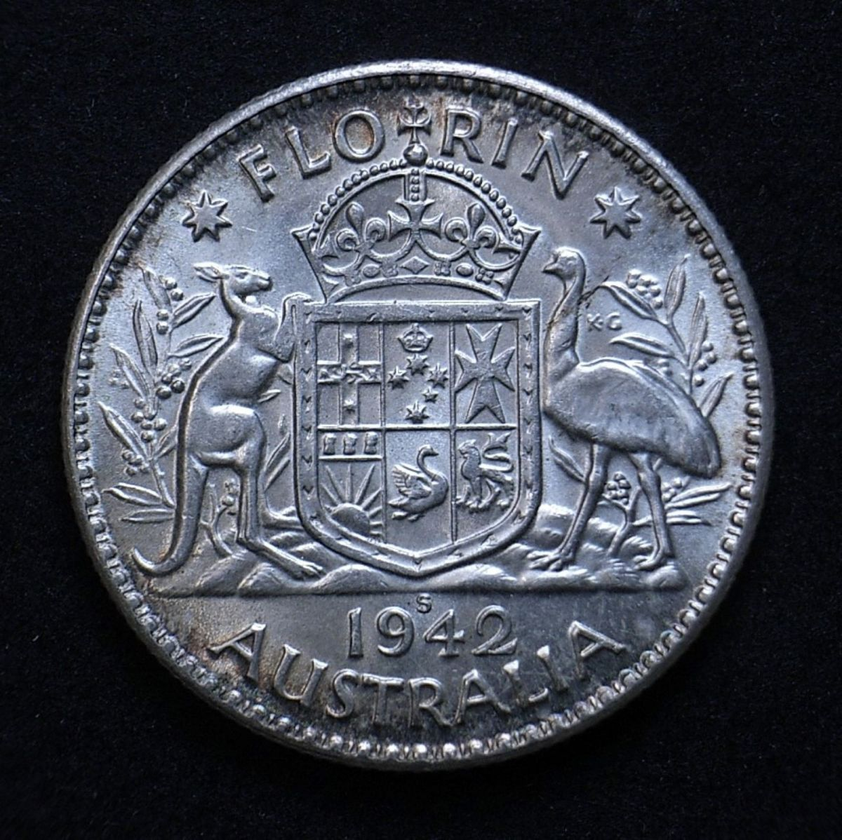 Close up Aussie florin 1942s highlighting the coin's detail