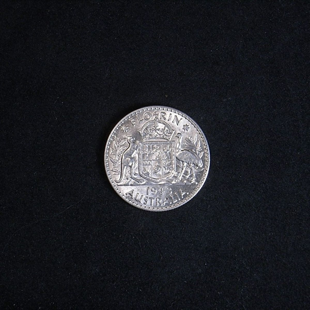 Aussie 1943s florin reverse highlighting lustre of the coin