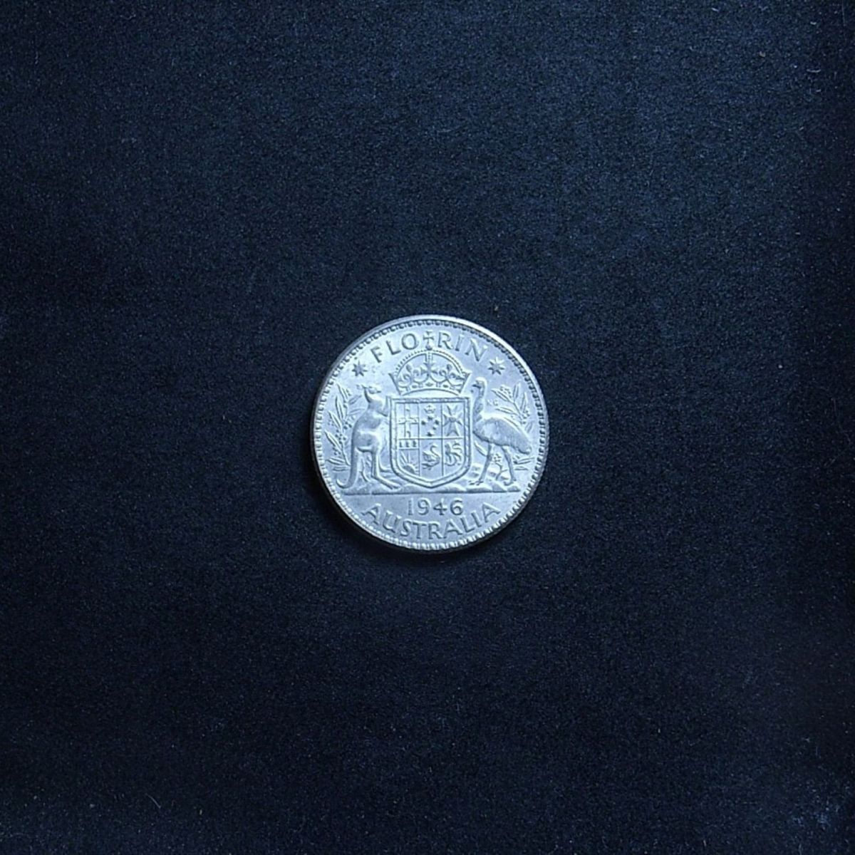 Aussie 1946 florin reverse showing lustre of the coin