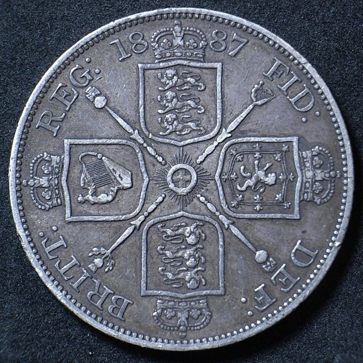 UK 1887 Double florin reverse close up showing the Arabic 1 in the date