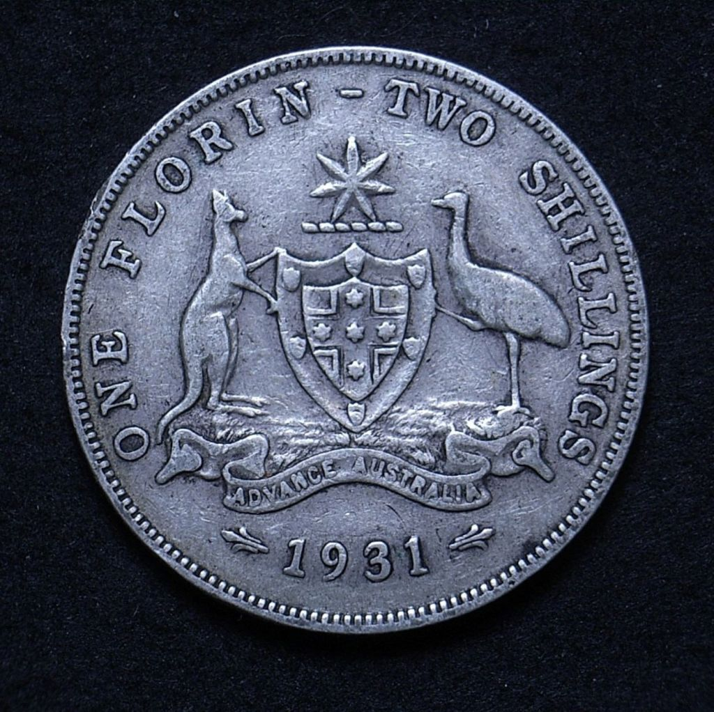 Close up of Aussie florin 1931 reverse showing the coin's detail