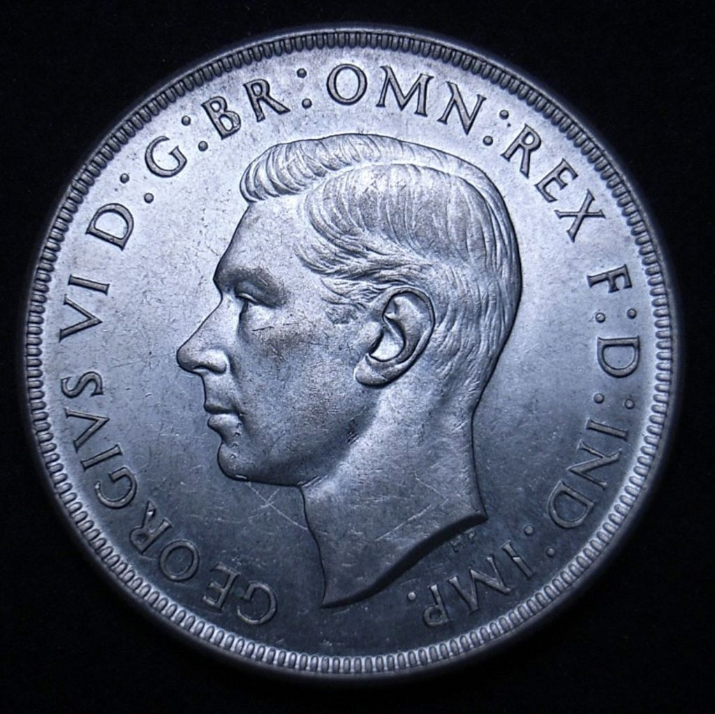 Aussie 1937 Crown obverse close up, new light angle highlighting detail and lustre of the coin