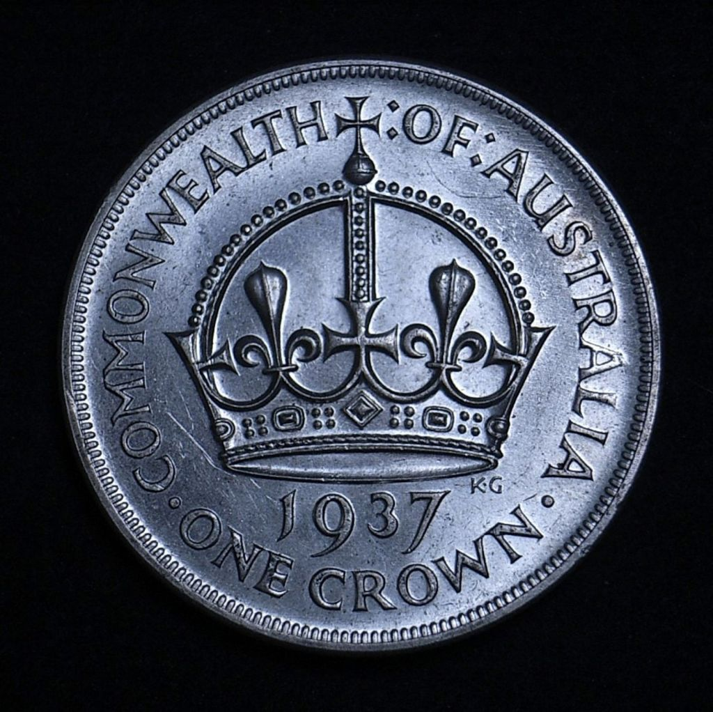 Aussie 1937 Crown reverse close up, different light angle highlighting detail and lustre of the coin