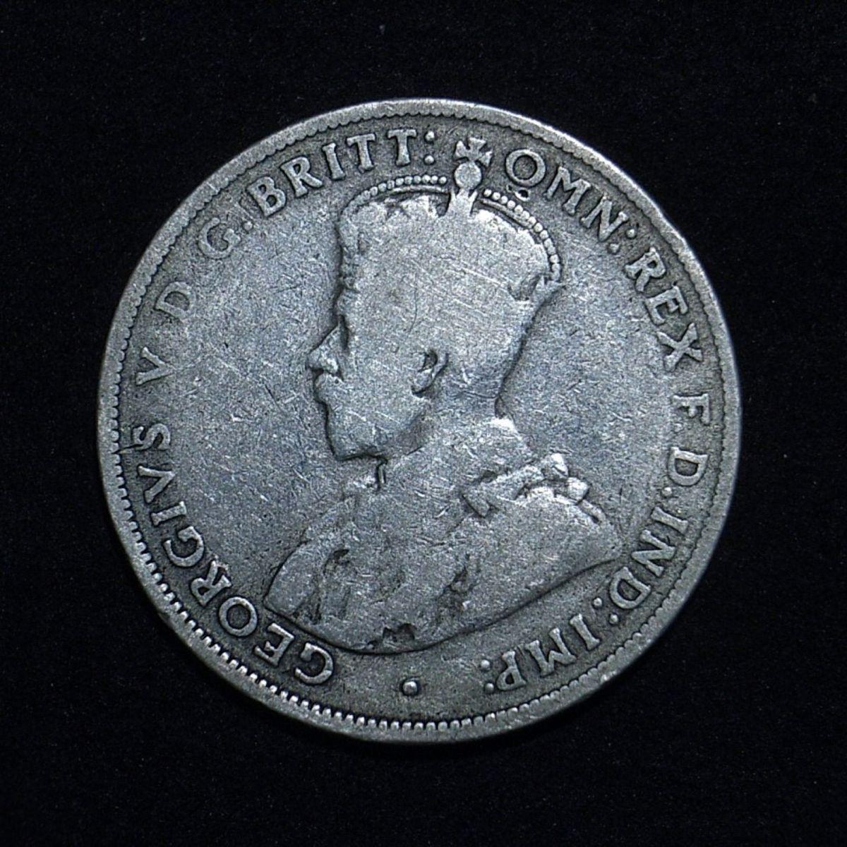 Aussie 1914H florin obverse close up