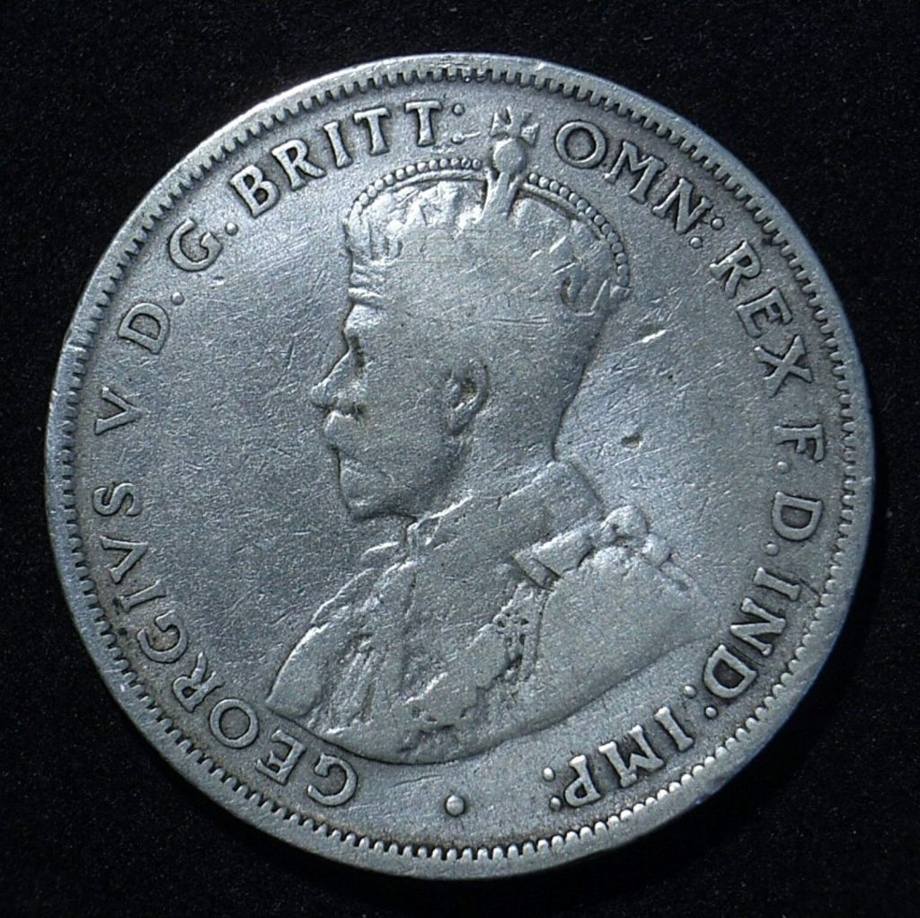 Close up of Aussie 1915 florin obverse showing the remaining detail