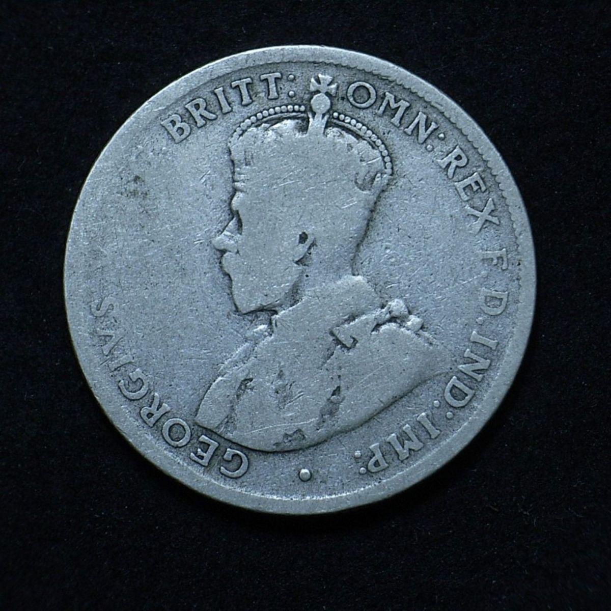 Close up of Aussie 1915 florin obverse, very worn