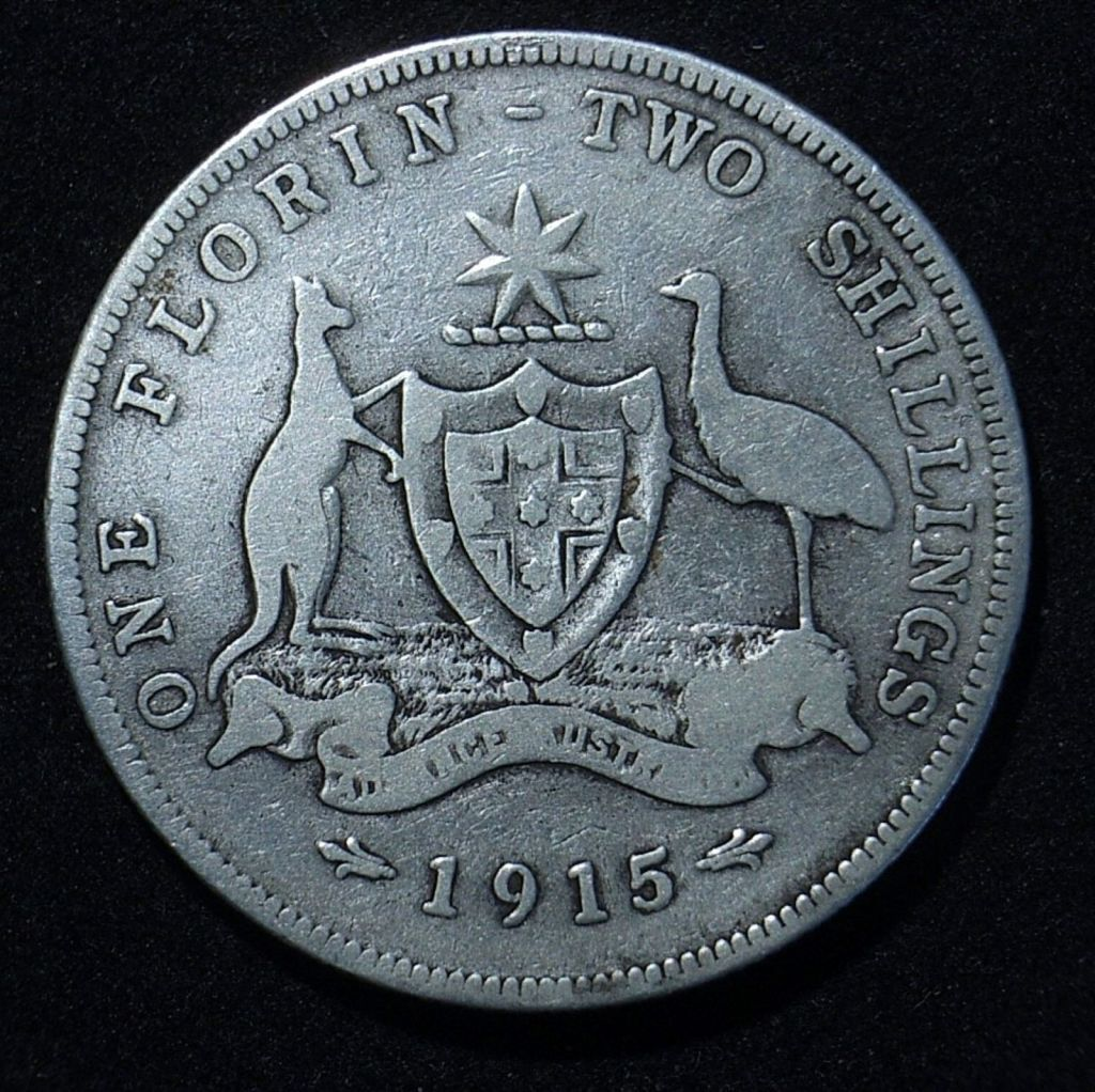 Close up of Aussie 1915 florin reverse showing the coin is well circulated