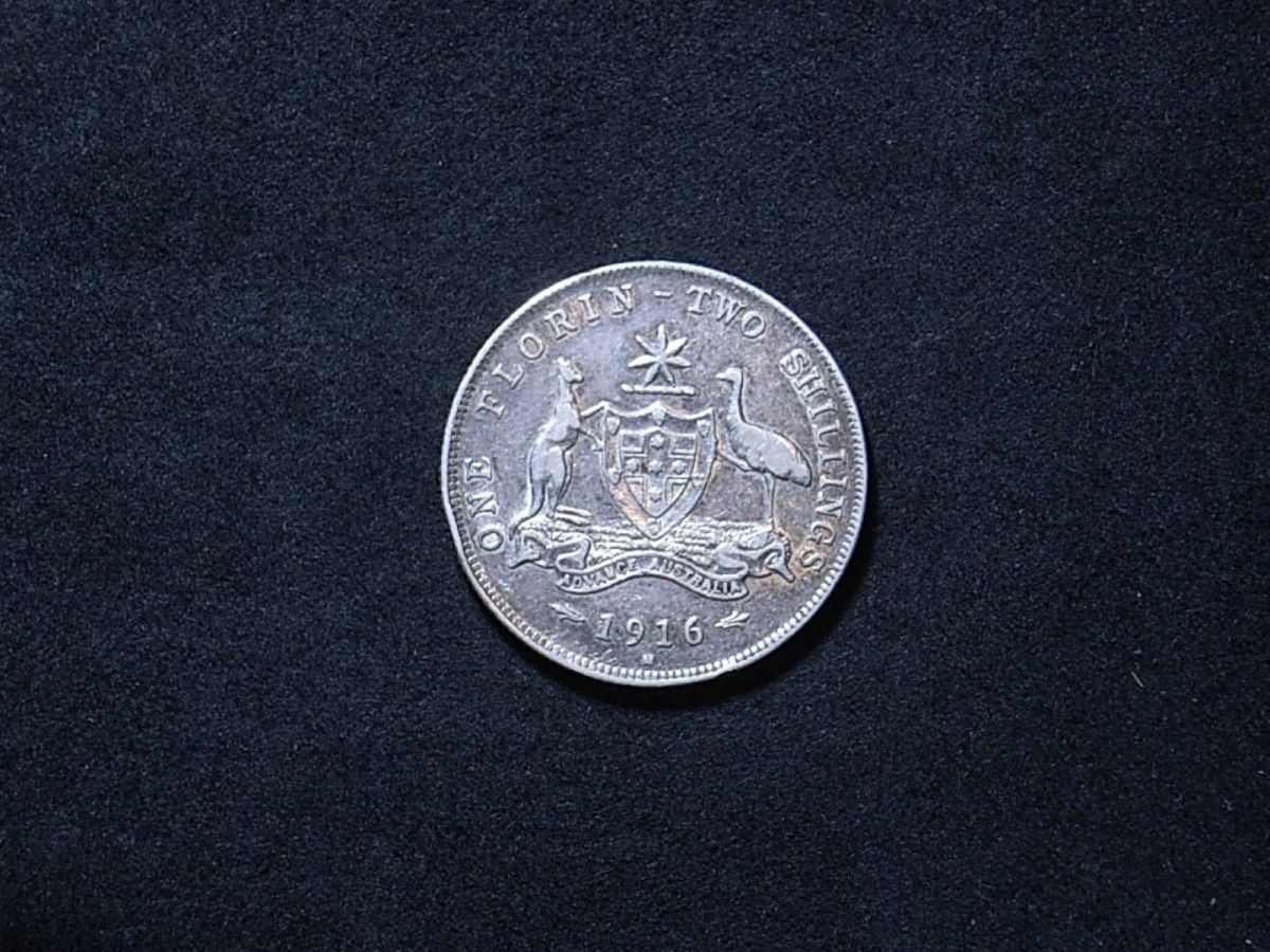 Aussie 1916M florin reverse showing the coin's overall lustre and toning
