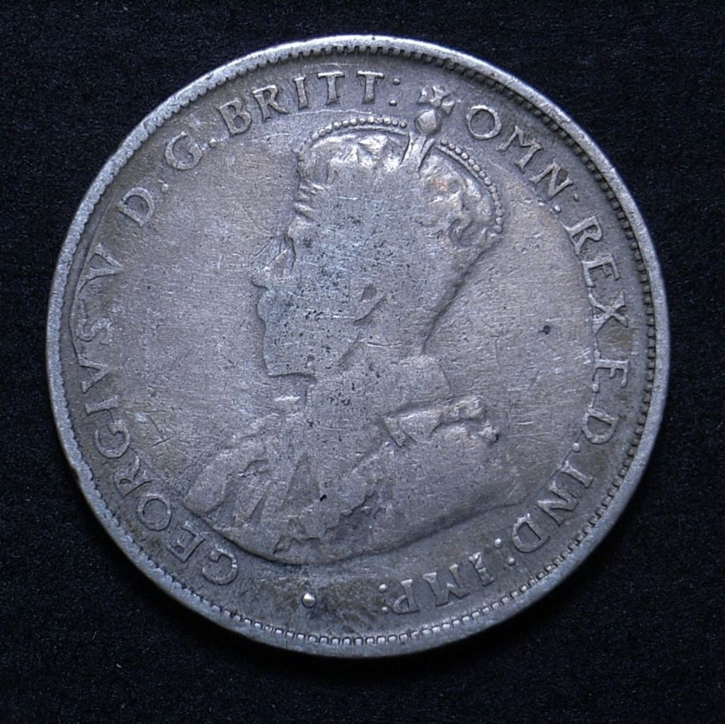 Close up of Aussie 1924 florin obverse showing a lot of wear especially on the portrait