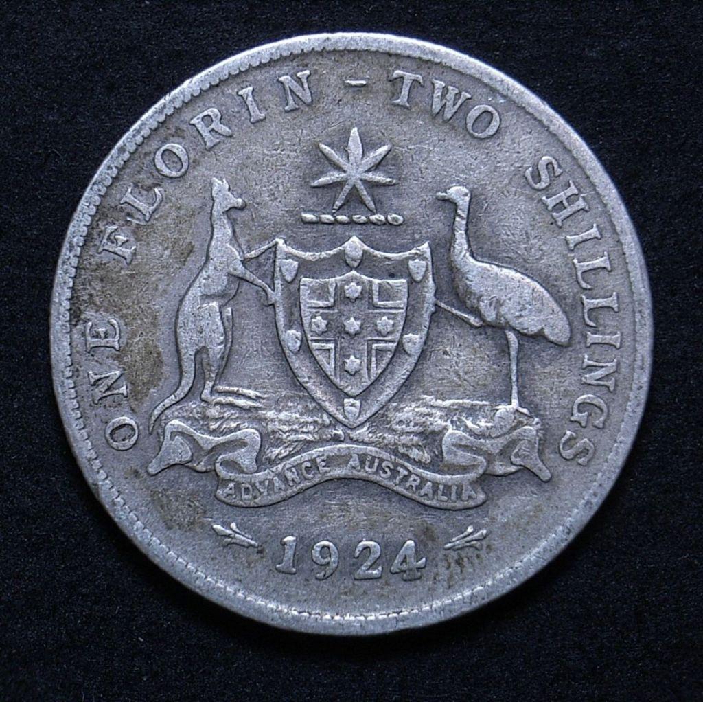 Close up of reverse for 1924 Aussie predecimal florin