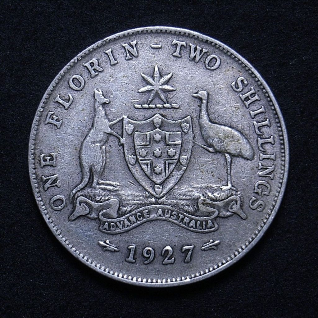 Close up Aussie 1927 reverse showing details on the coin, including clear 'ADVANCE AUSTRALIA'