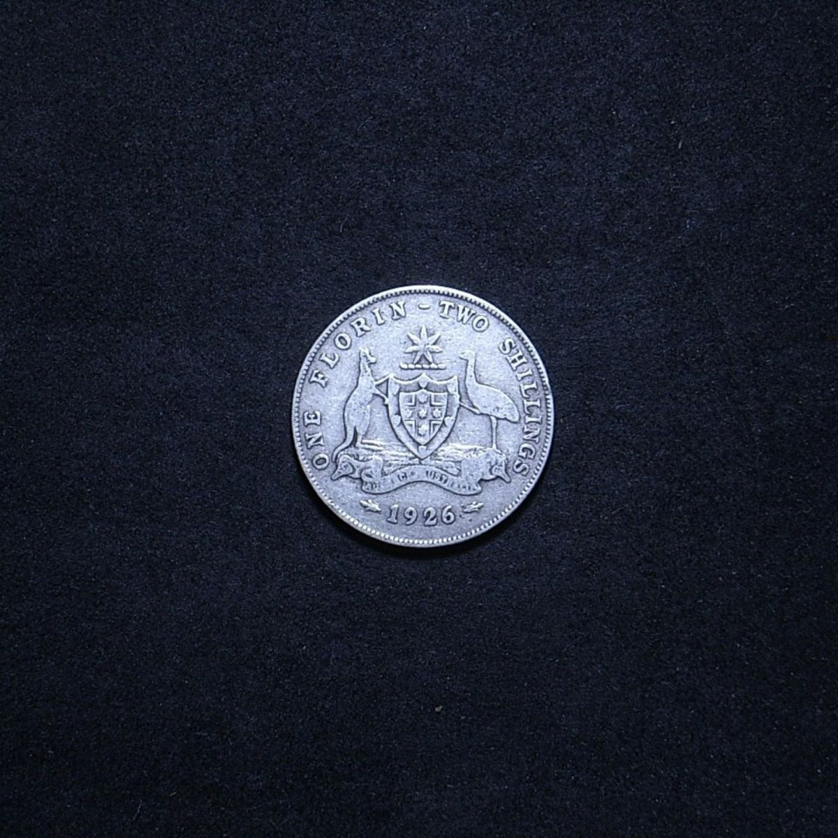 1926 florin reverse showing the coin is quite well circulated