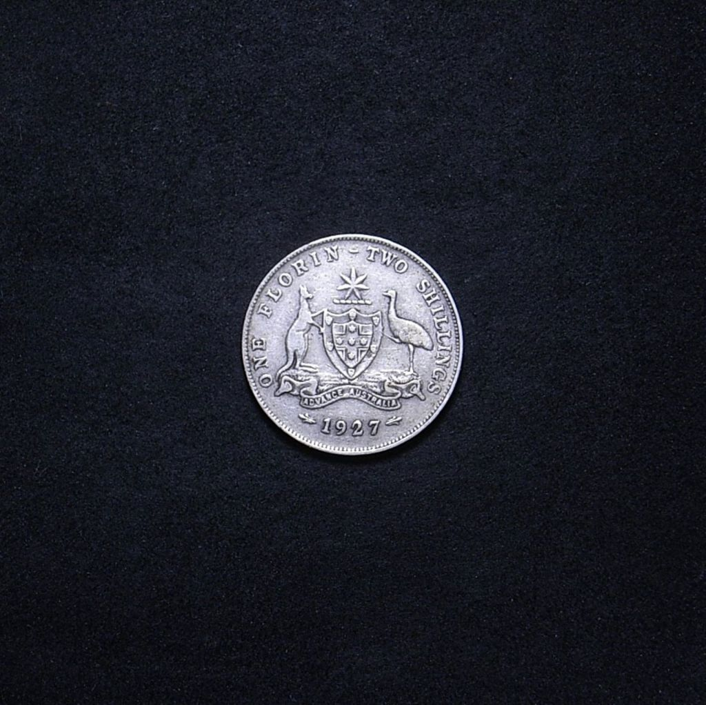 Aussie 1927 florin reverse showing overall appearance of the coin