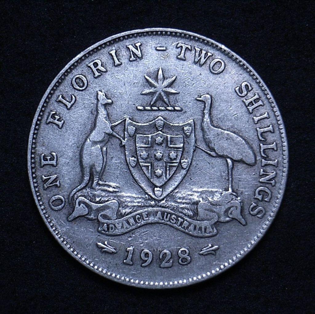 Close up of Aussie 1928 florin obverse showing details
