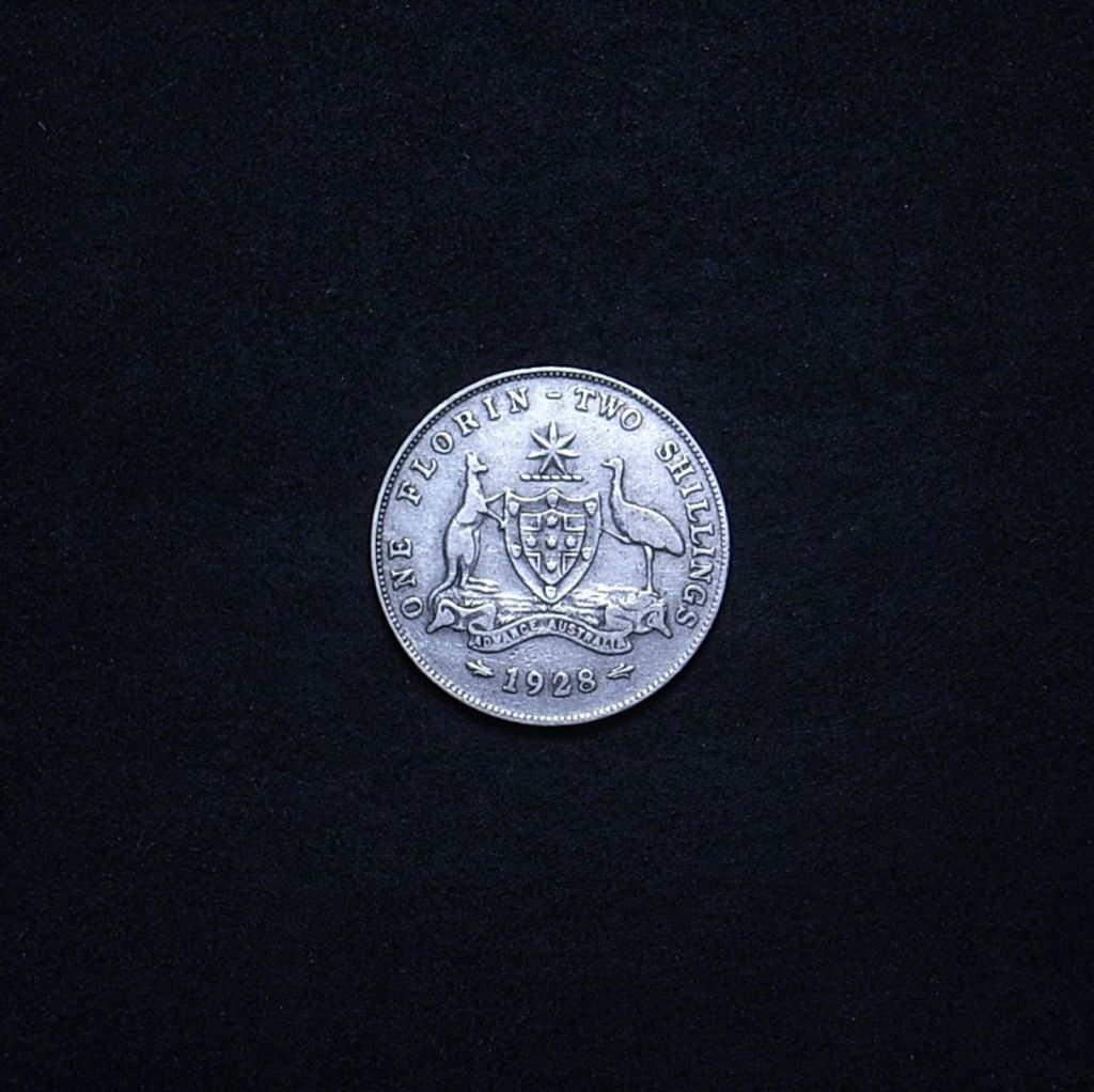 Aussie 1928 florin reverse showing overall appearance of the coin