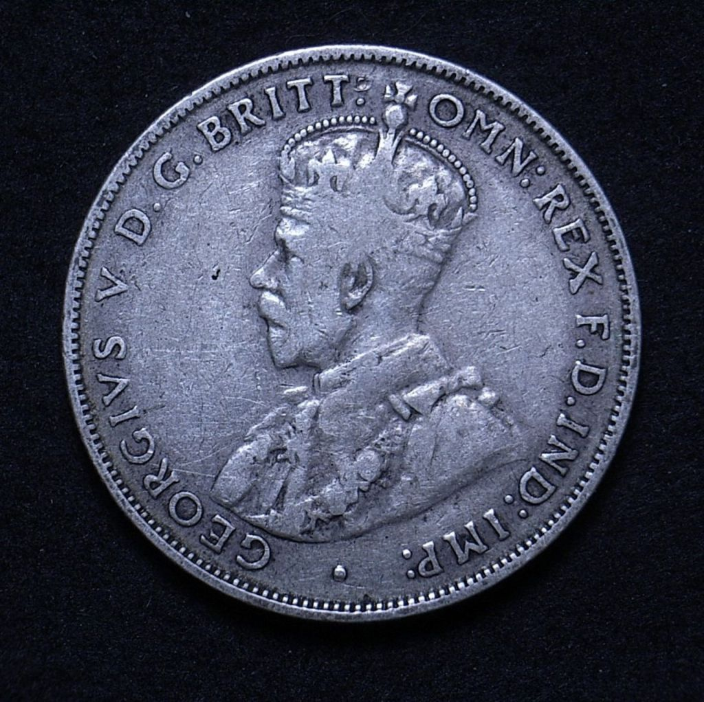 Close up of Aussie 1931 florin obverse showing the coin's detail