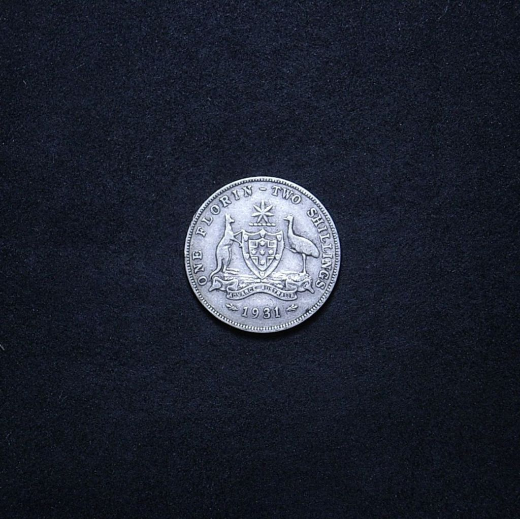 Aussie florin 1931 reverse showing the overall appearance of the coin