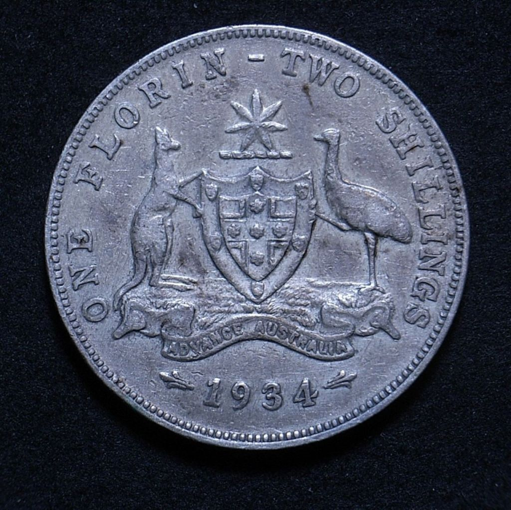 Close up Aussie florin 1931 reverse showing coin's detail
