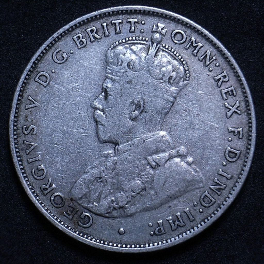 Close up Aussie 1935 florin obverse showing the coin's detail