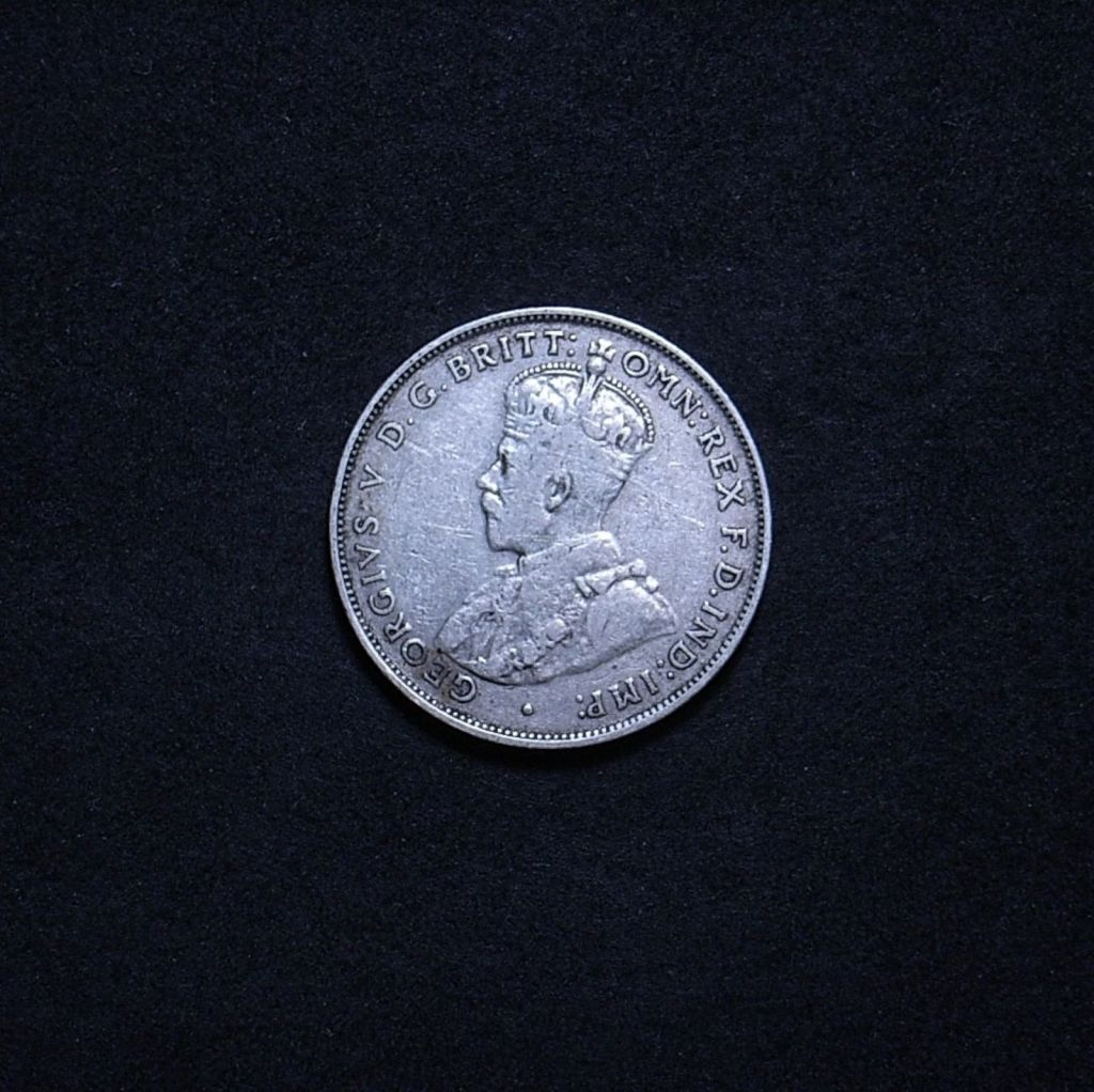 Aussie 1935 florin obverse showing the overall appearance of the coin