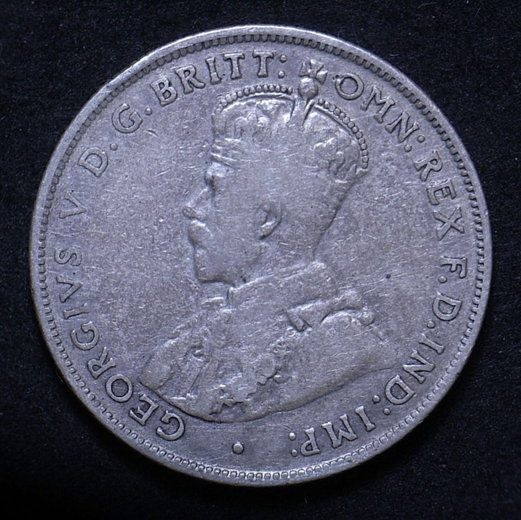 Close up of Aussie Florin 1936 obverse showing coin's detail