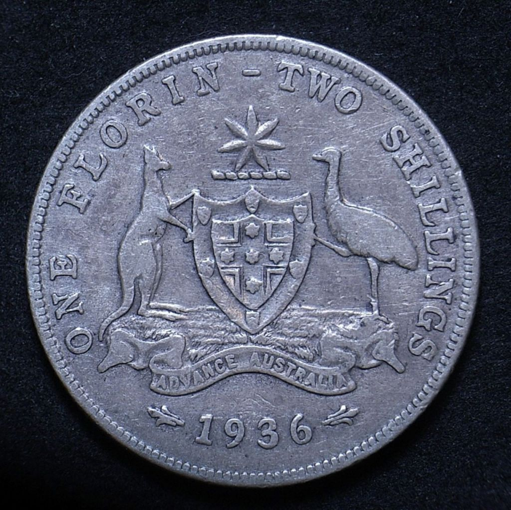 Close up of reverse Aussie florin 1936 showing detail