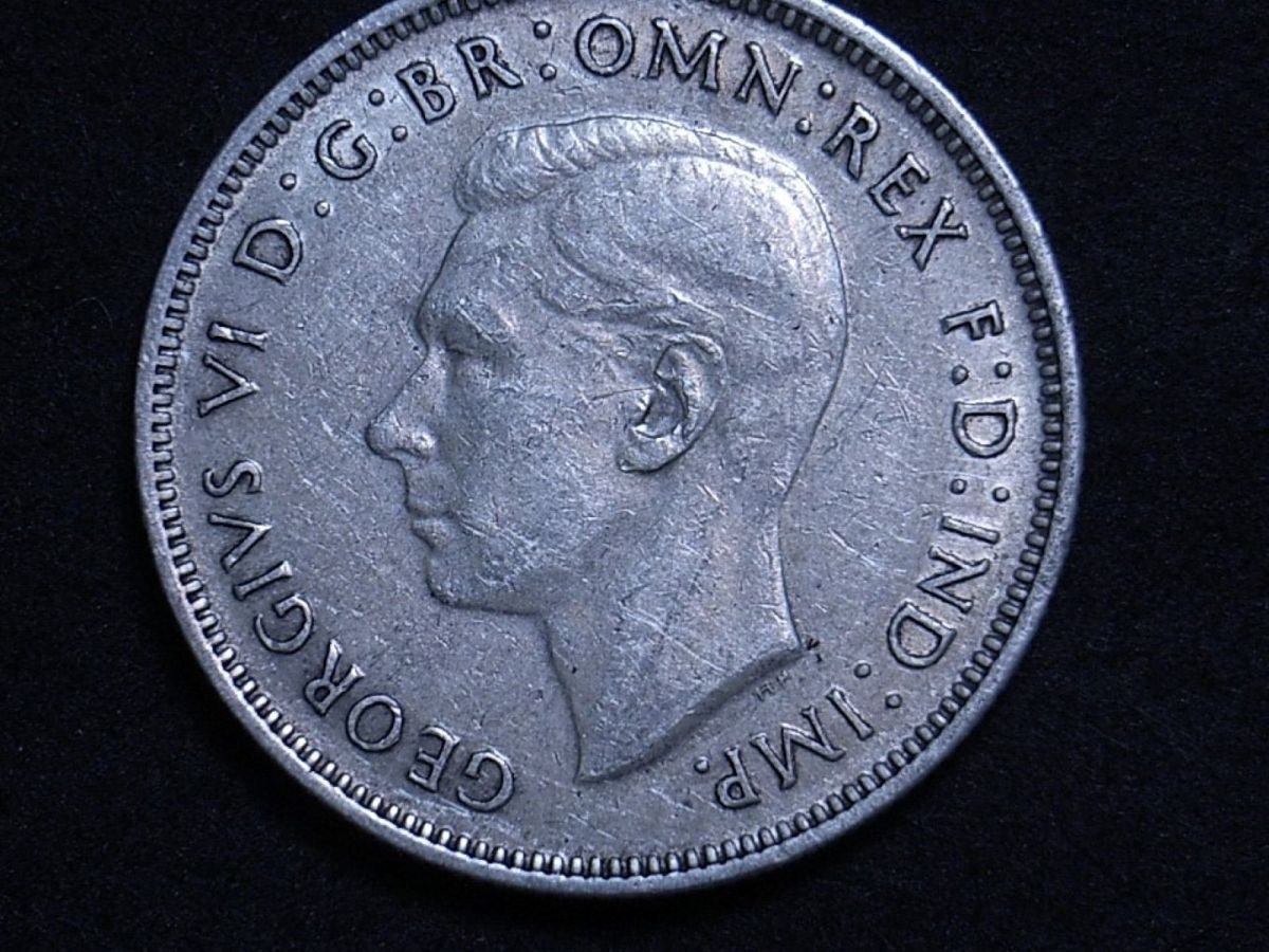 Close up of 1939 florin obverse showing the coin's detail