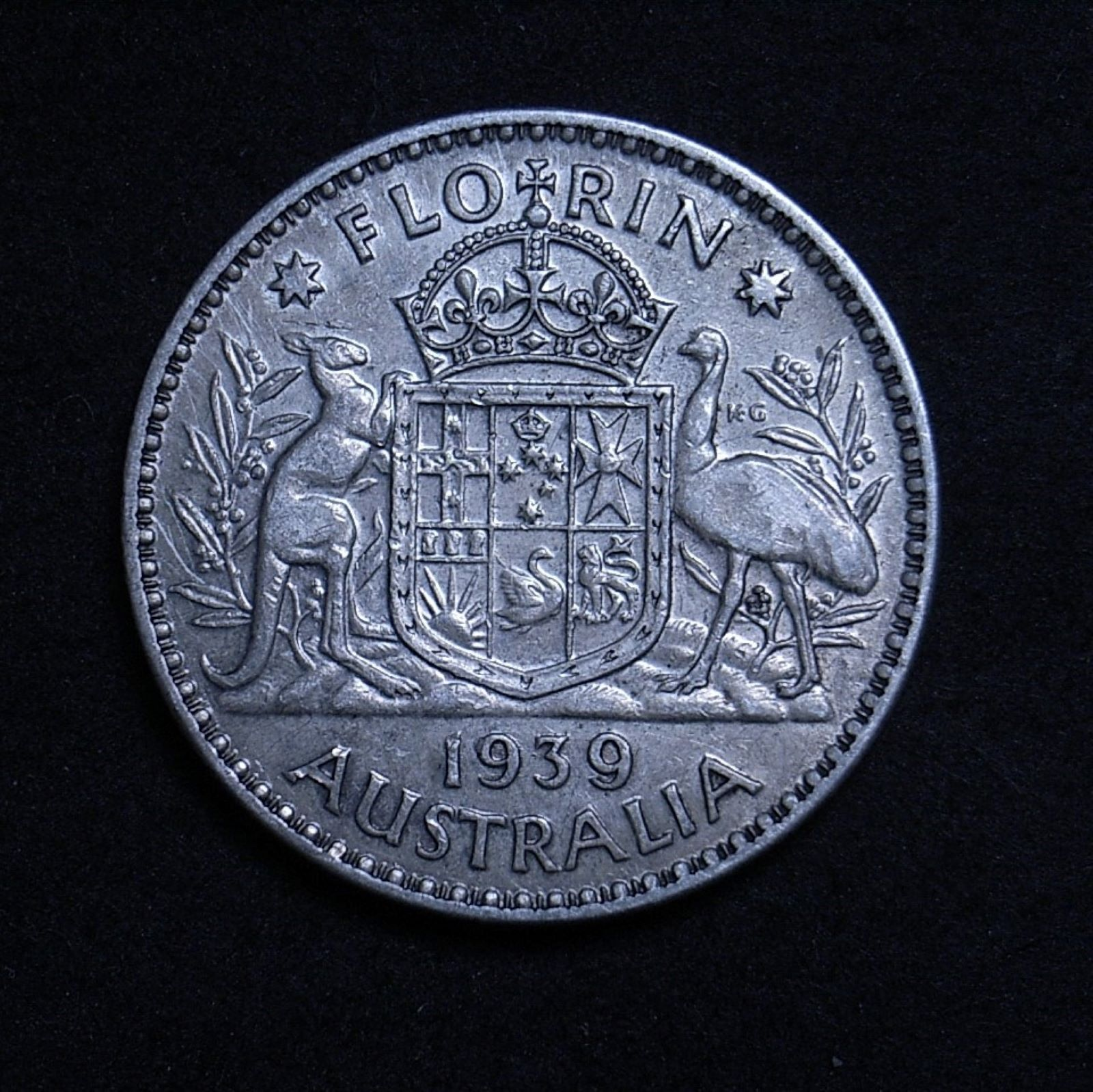 Close up of 1939 florin reverse showing the coin's detail