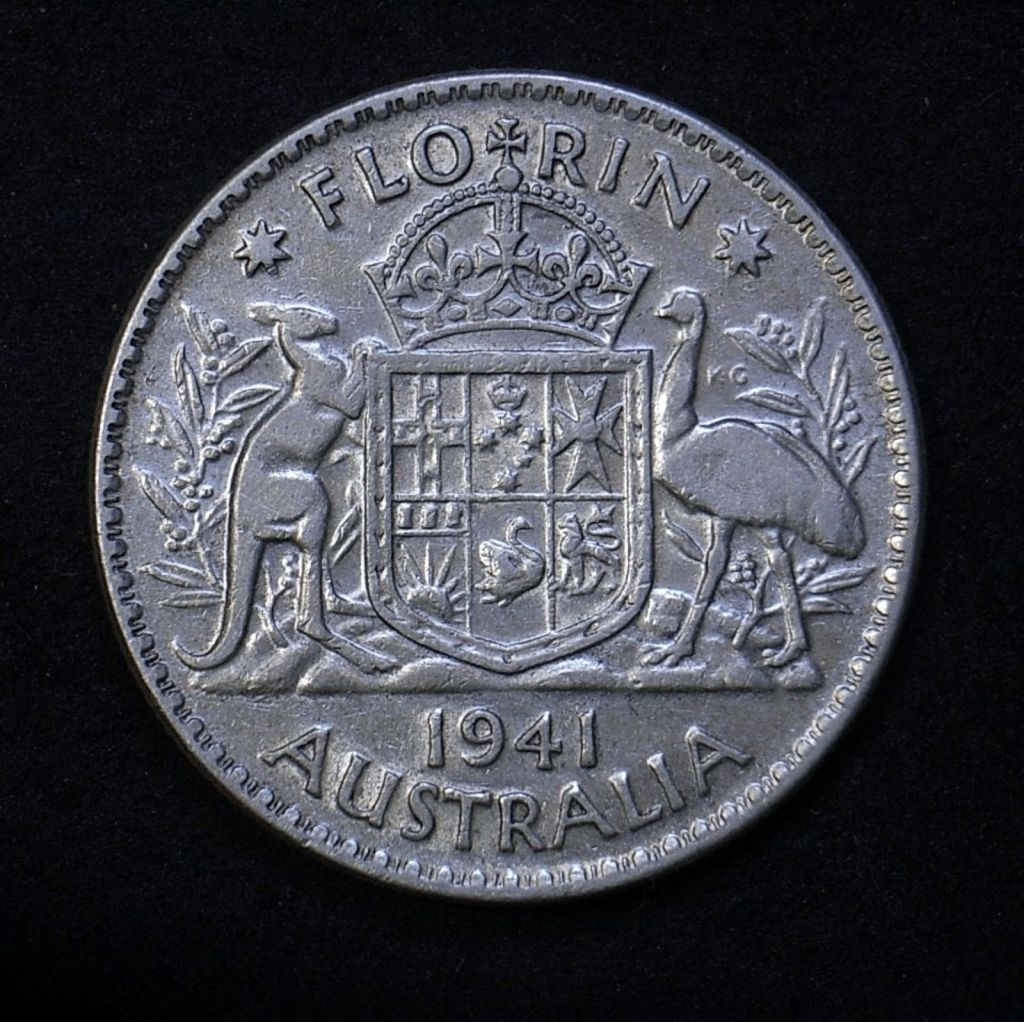 Close up of reverse Aussie florin 1941 showing detail