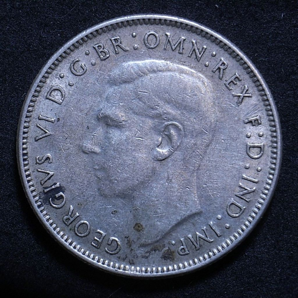 Close up of Aus Florin 1942 obverse showing detail on the coin
