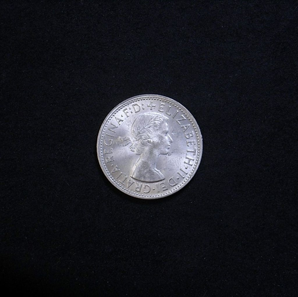 1958 florin obverse highlighting the coin's lustre