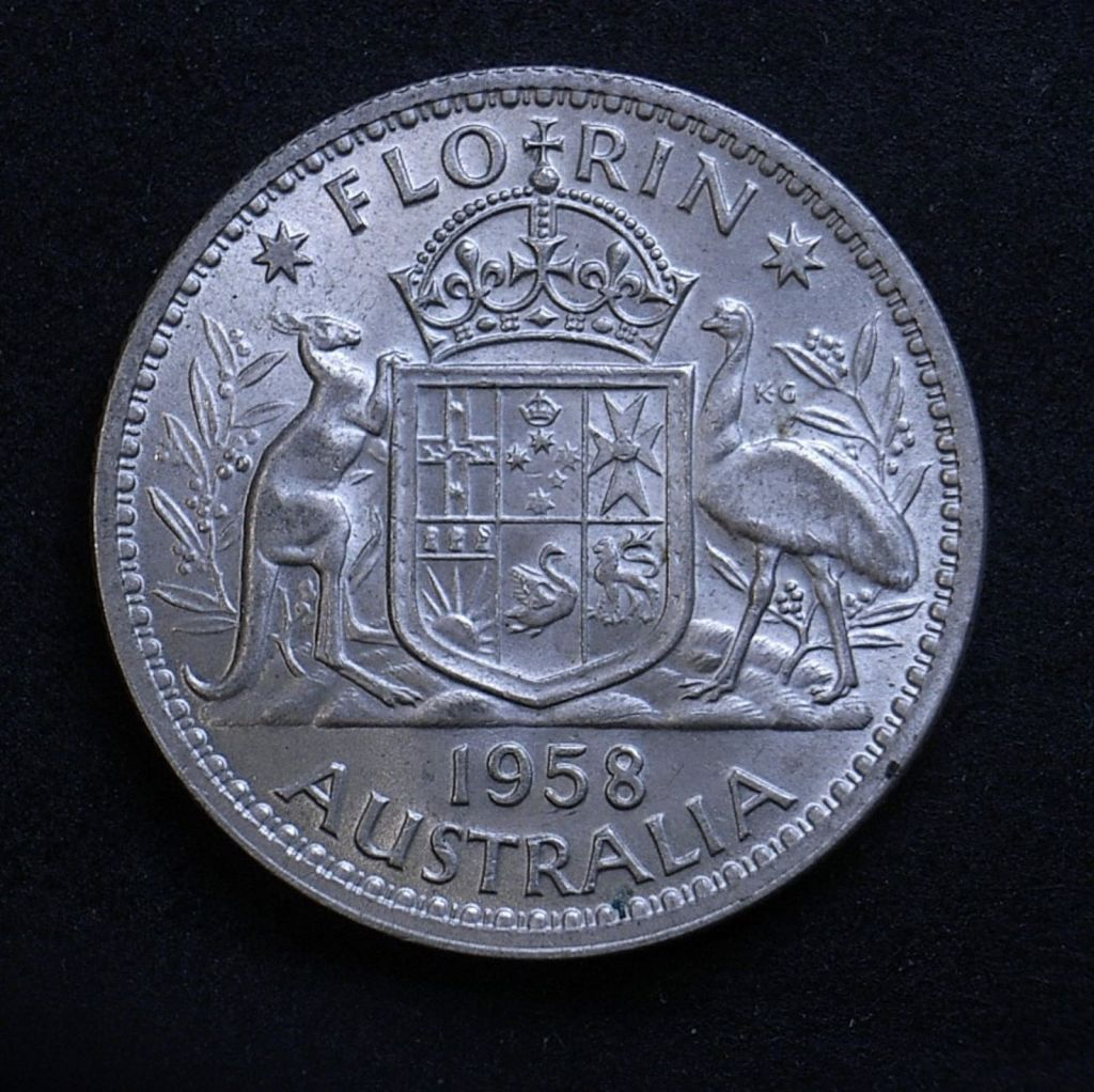 Close up of 1958 florin reverse, different light angle