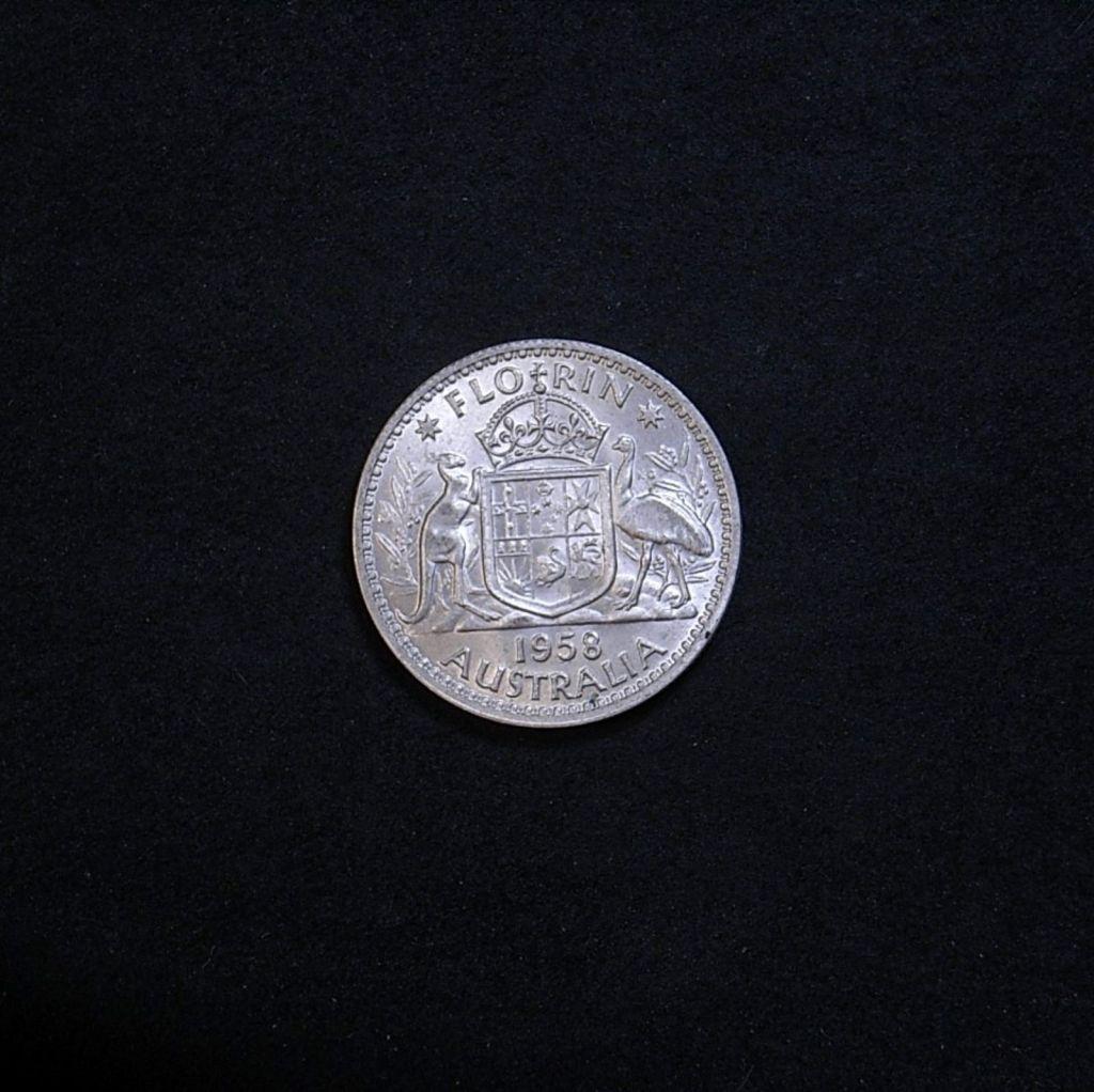 1958 florin reverse highlighting the coin's lustre