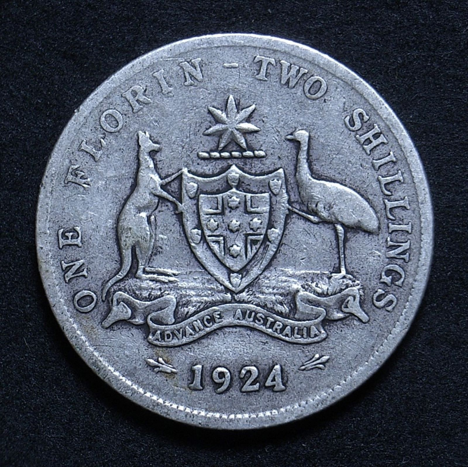 Close up of 1924 florin reverse showing the coin's detail