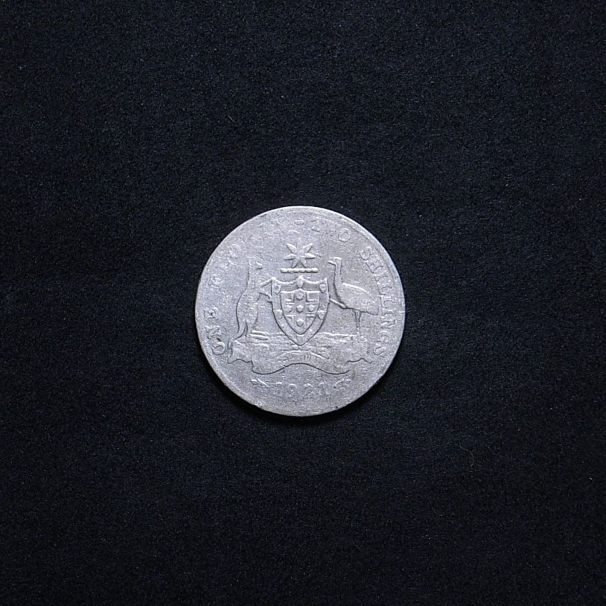 Aussie 1921 florin reverse showing remaining detail