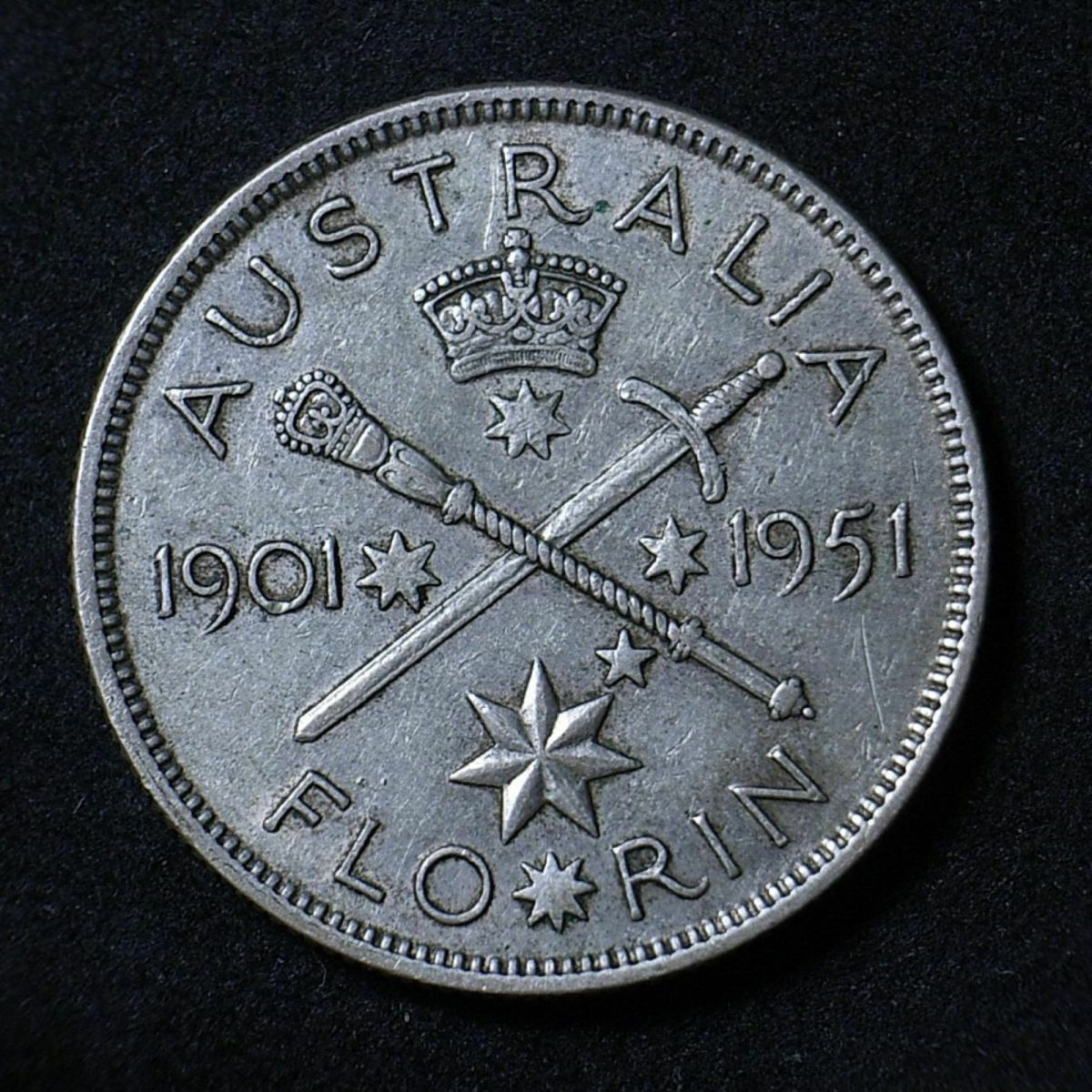 Aussie 1951 Federation florin reverse close up showing detail on the coin