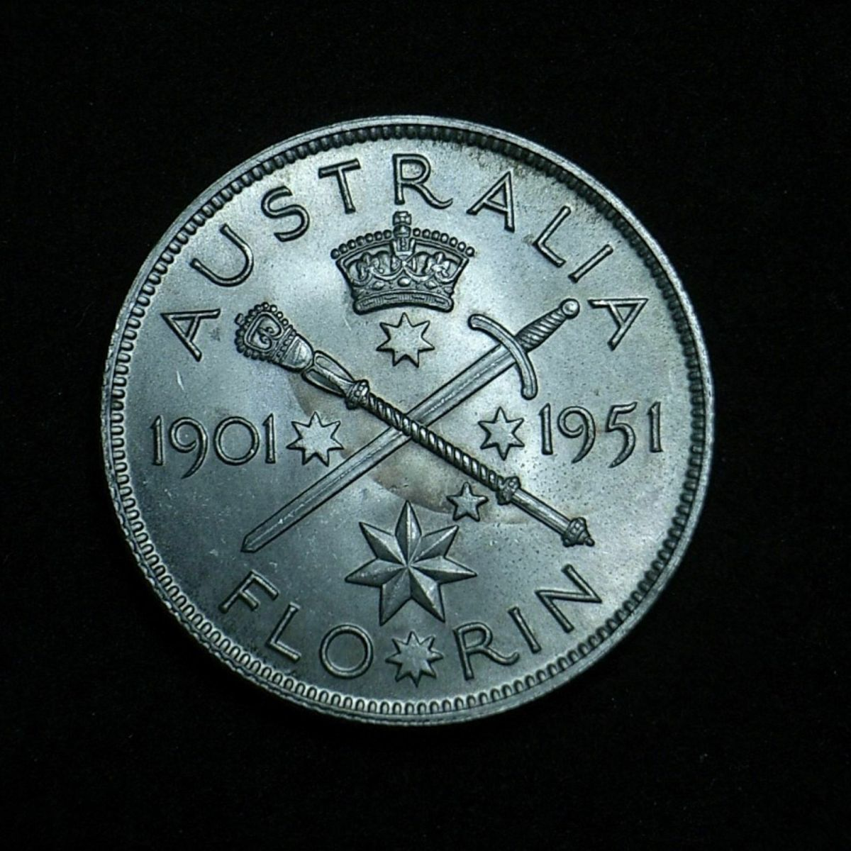 Aussie 1951 Fed florin reverse close up showing the coin's lustre