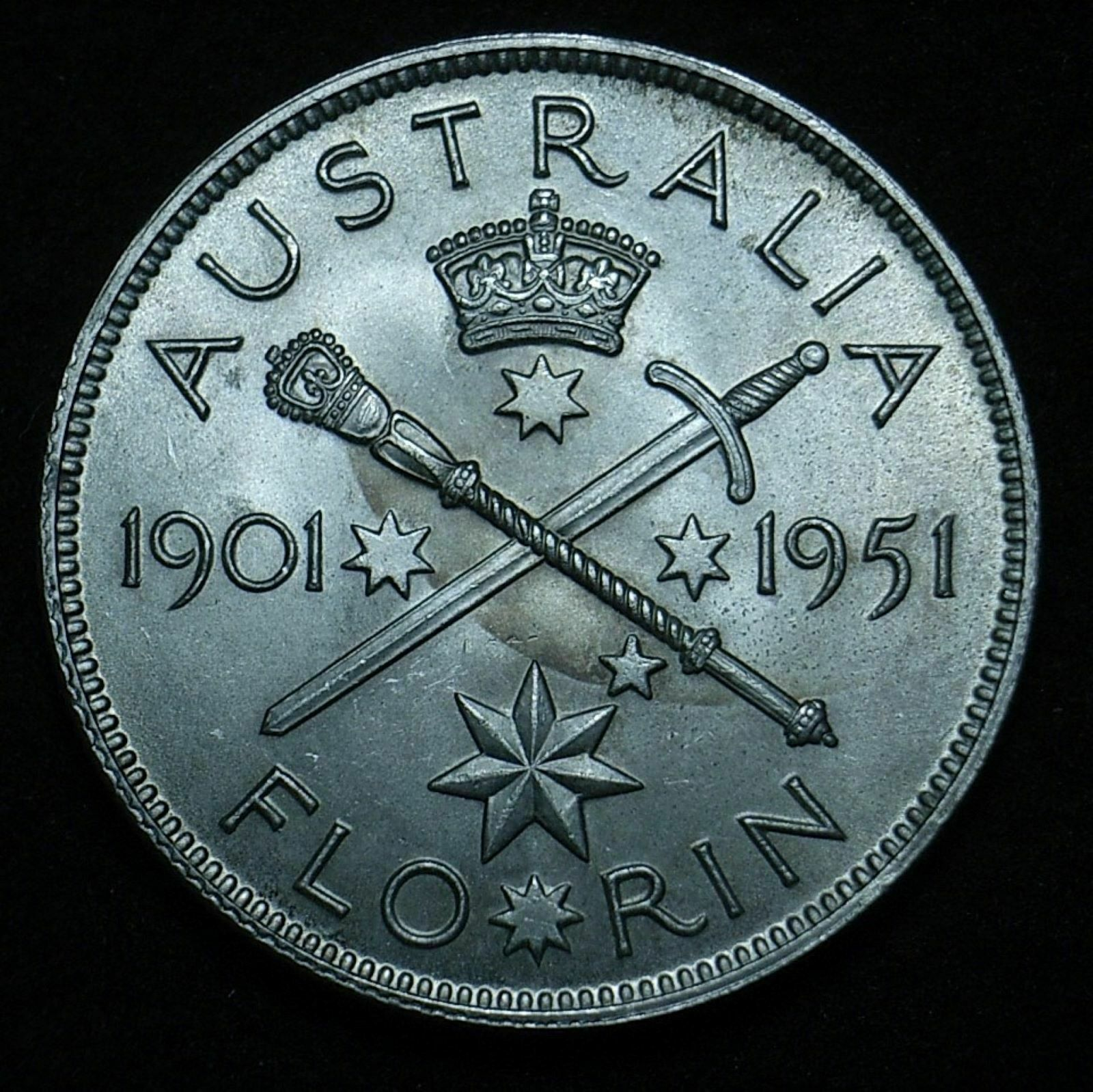 Aussie 1951 Fed florin reverse close up showing the coin's detail